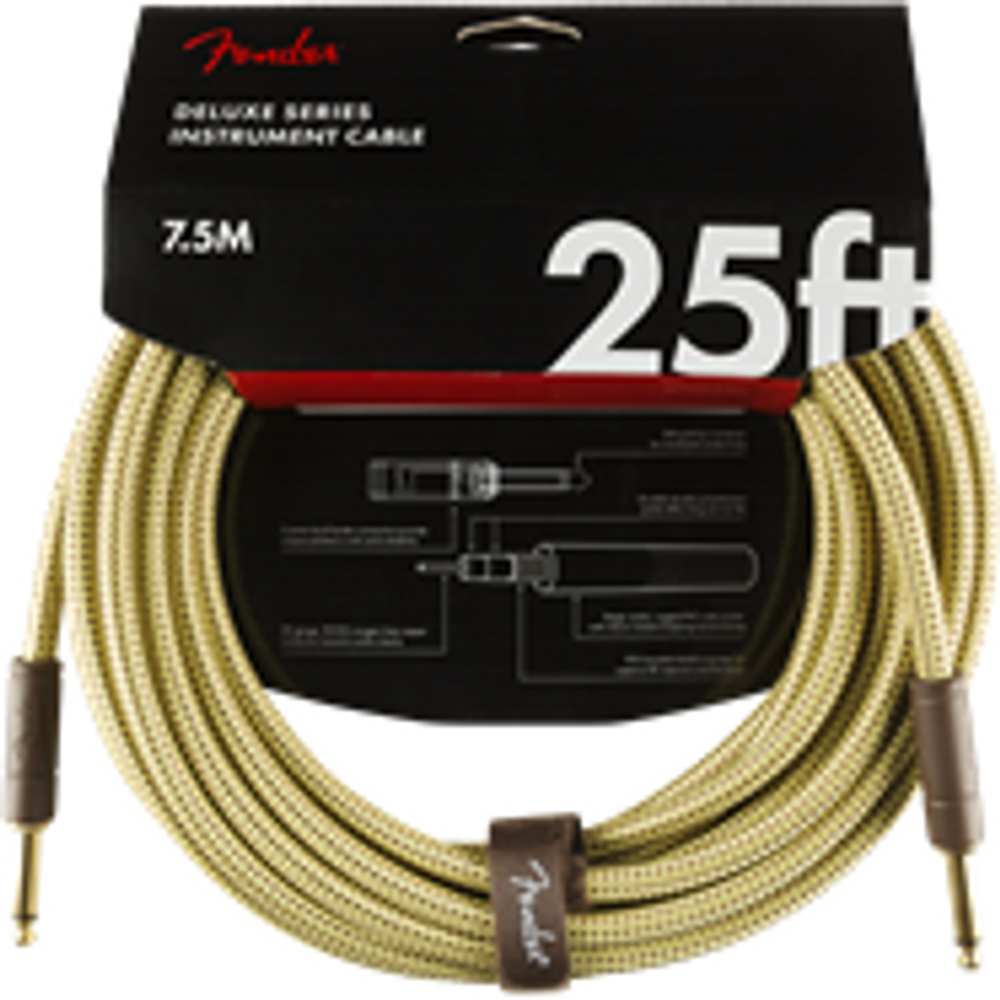 Fender Deluxe Series Instrument Cable, Straight/Straight, 25, Tweed