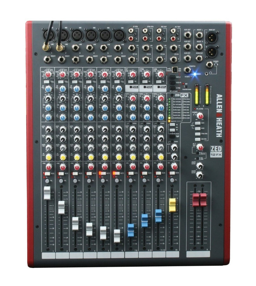 Allen and Heath Allen and Heath ZED-12FX 12-Channel Mixer with USB Interface and Onboard EFX