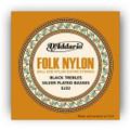DAddario Daddario EJ32 Folk Nylon Strings, Ball End, Silver Wound/Black Nylon Trebles