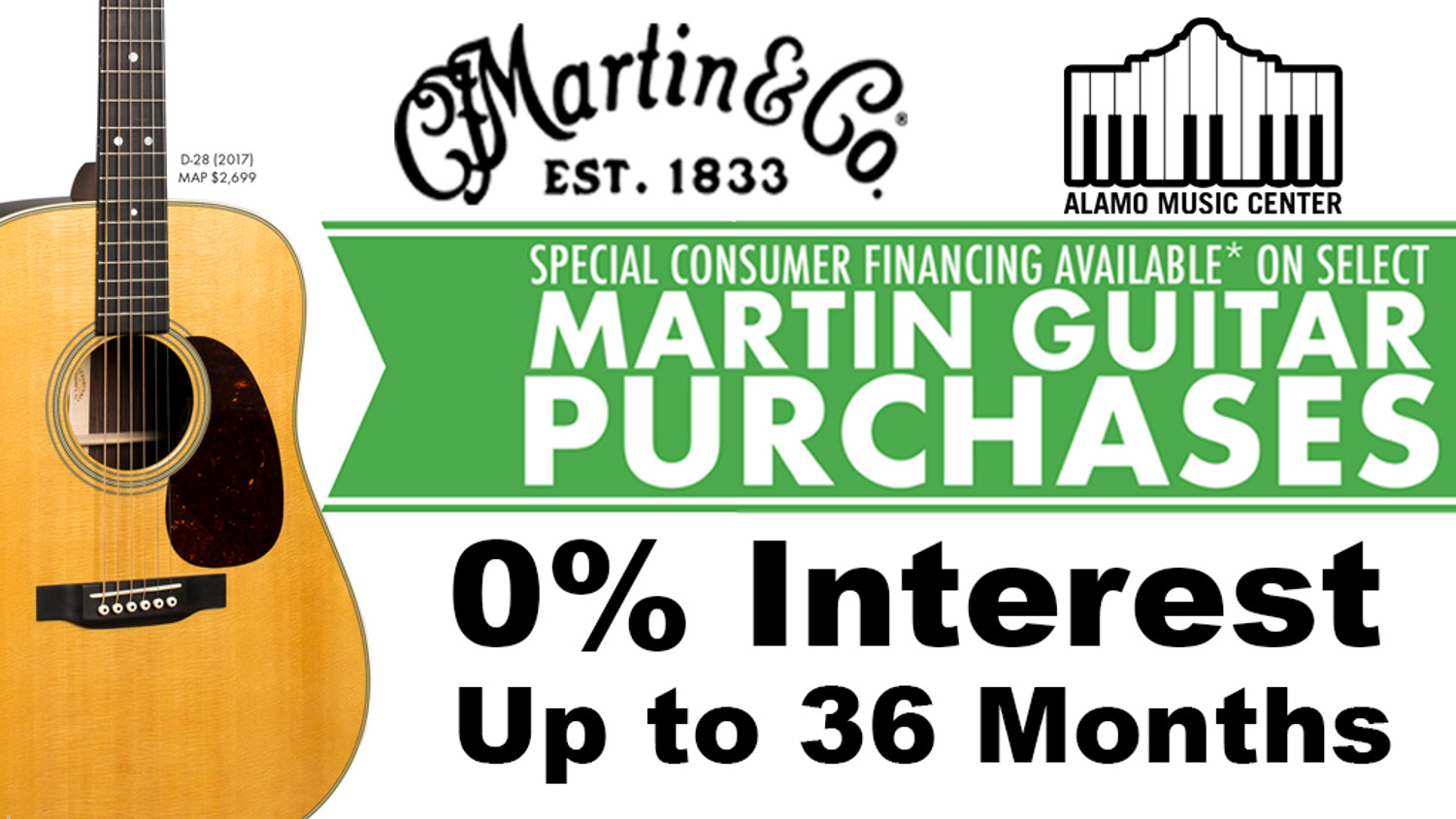 Martin Guitar Financing - 0% for up to 36 Months!