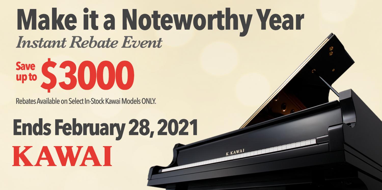 Make It a Noteworthy Year - Kawai Instant Rebates up to $3000