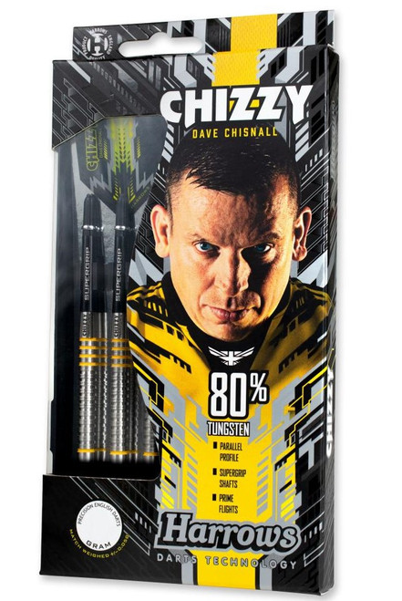"Harrows ""CHIZZY"" Dave Chisnall, Steel Tip Darts, 80% Tungsten, 22 gram"