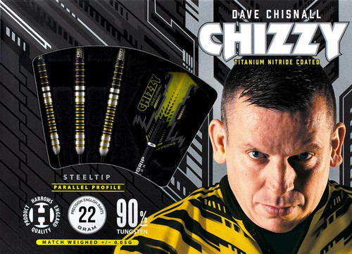 "Harrows ""CHIZZY"" Dave Chisnall, Steel Tip Darts, 90% Tungsten, 22 gram"