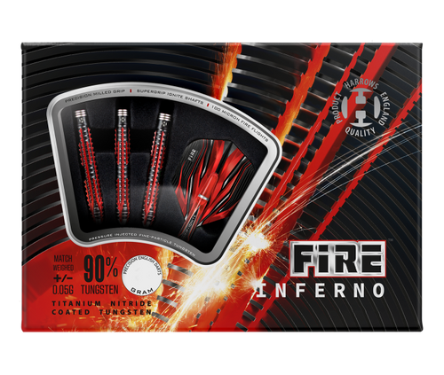 Harrow Fire Inferno, Steel Tip Darts, 90% Tungsten, 22 gram