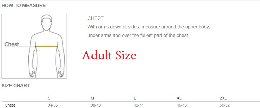 polo adult size chart