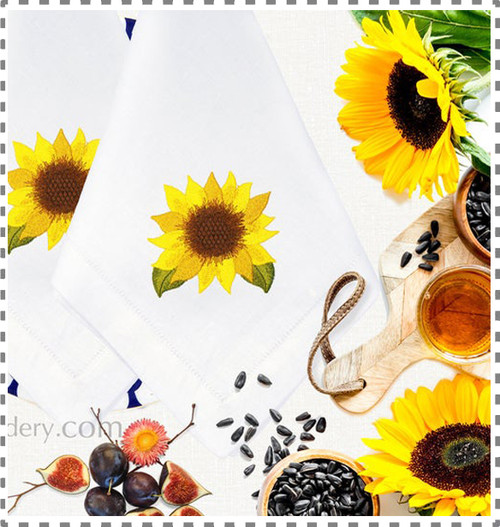 Autumn Sunflower Machine Embroidery Design  - 3 Sizes