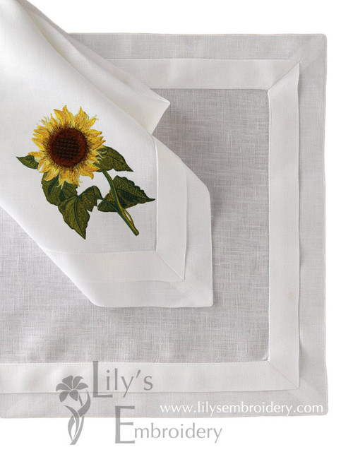 Elegant Sunflower Machine Embroidery Design