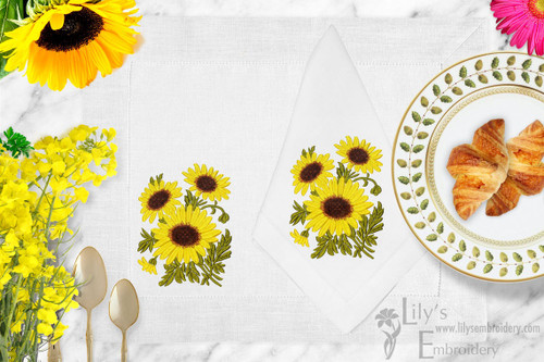 Sunflowers Machine Embroidery Design - 3 Sizes