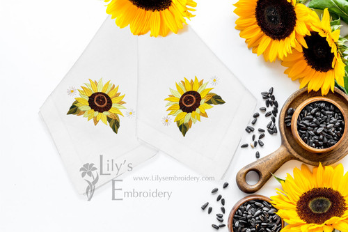 Machine Embroidery Design Sunflower  Single- 3 Sizes