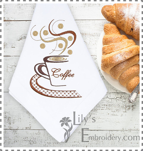Machine Embroidery Design - Coffee Cup Embroidery in 4 Sizes