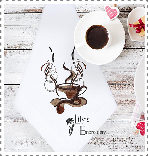 Coffee Cup Machine Embroidery Design