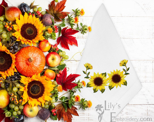 Machine Embroidery Design Vibrant Sunflowers - 4 Sizes