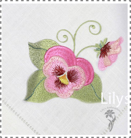 Machine Embroidery Design - Blooming Pansy  3 Sizes