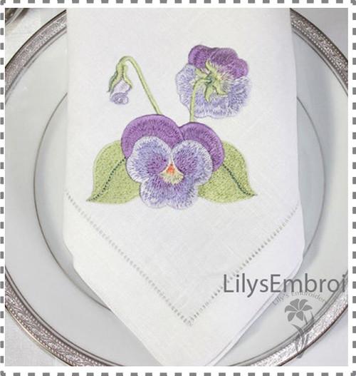 Machine Embroidery Design - Pretty Pansy Embroidery Design