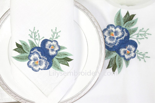 Machine Embroidery Design - Elegant Pansies  Design