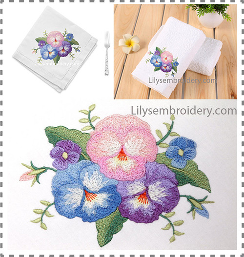 Machine Embroidery Design - Pansy Bouquet Design 2 Sizes