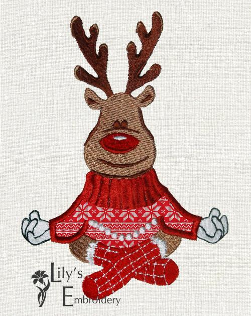 Reindeer Applique Machine Embroidery