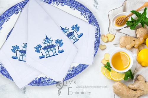 Blue Pagoda Machine Embroidery Design