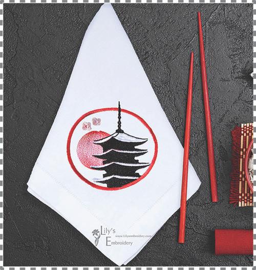 Pagoda Sunshine  Machine Embroidery Design