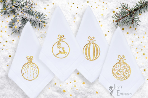 Christmas Balls Machine Embroidery Design - Set of 5