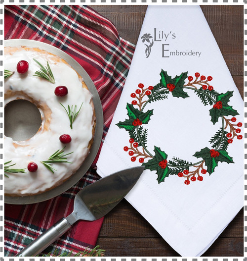 Christmas cake and embroidered napkin