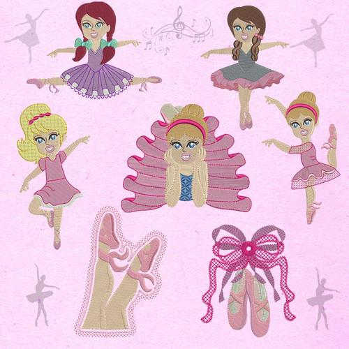 Ballerinas Machine Embroidery Designs