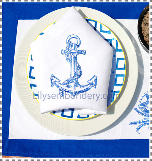 Anchor Outline Machine Embroidery Design - 4 sizes