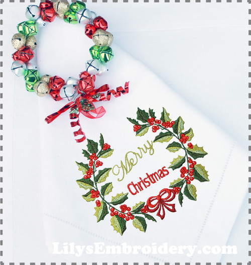 Holly Berries Wreath Machine Embroidery Design