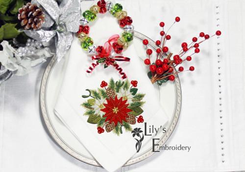 Poinsettia  Bouquet Machine Embroidery Design in 3 sizes