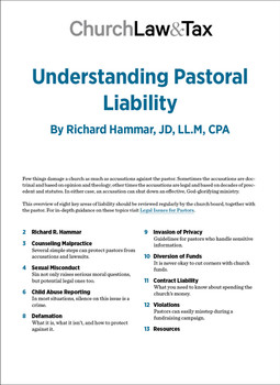 Understanding Pastoral Liability Table of Contents