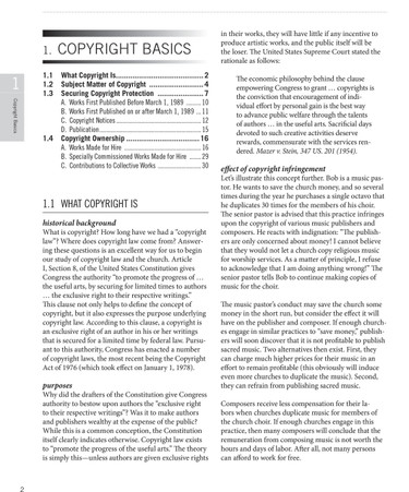 Essential Guide to Copyright Law for Churches: Sample Page