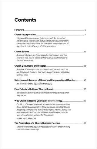 Church Governance Table of Contents