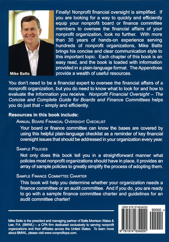 Nonprofit Financial Oversight - The concise and Complete Guide for Board & Finance Committees (Back Cover)