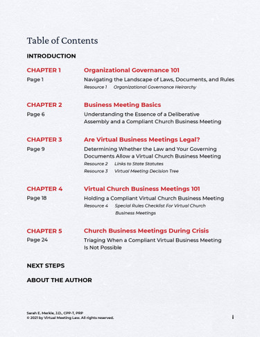 Your Complete Guide to Virtual Church Meetings: A toolkit for legal and compliant business meetings - TOC