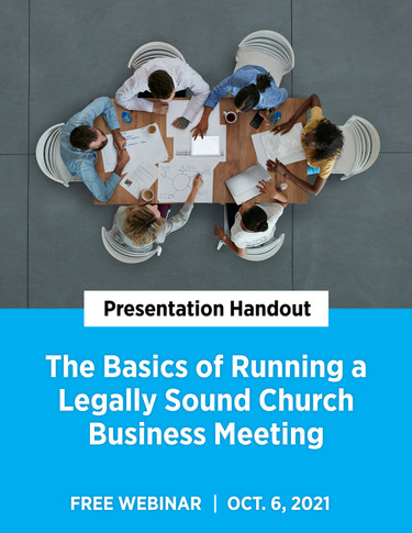 The Basics of Running a Legally Sound Church Business Meeting - Cover image