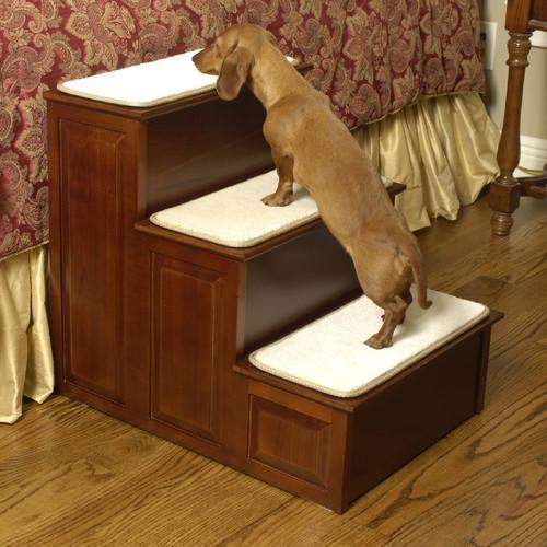 Herzher's Dog Cat Pet Stairs 3 Step 15301 Cherry Wood Finish