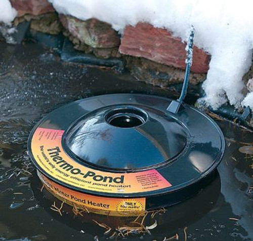 Uses only 100 watts. K&H Floating Pond De-icer KH 8001 Thermo Pond Koi Pond De-icer 100 watt  The World-¼s only energy efficient pond heater! Thermo-Pond is a unique patented pond heater that keeps a hole through the ice in backyard ponds for just pennies a day. In fact, Thermo-Pond can save up to $30.00 a month in electricity! The Thermo-Pond pays for itself in as little as 2 months.Thermo-Pond floats on top of the water and is thermostatically controlled to never get hot. Unlike some other heaters, Thermo-Pond will never burn a pond liner or plastic pond. It naturally allows the pond to ice over while maintaining a hole through the ice. The hole in the top of the Thermo-Pond helps allow toxic gasses to escape all winter long. Allowing that gas exchange can help keep a healthier environment during the winter months Thermo-Pond should be used in ponds that are deep enough to allow plenty of livable water under the iced portion of the pond. Thermo-Pond has been tested in the Northwoods of Wisconsin at temperatures dipping down past 30 below Zero Fahrenheit. UL and CUL listed. The world's most successful and efficient low-wattage pond de-icer. Uses only 100 Watts Maintains a hole in backyard pond ice for just pennies a day. Floats on top of the water. Thermostatically controlled never to get hot. Completely safe when used with a pond liner or plastic pre formed pond. Fish friendly - assists the escape of toxic gases all winter long to help maintain a toxic-free environment for fish living under the ice. Tested in northern Wisconsin at temperatures of 30-¬ below zero Fahrenheit. MET Listed  Thermo Pond floats on top of the water and is thermostatically controlled to never get hot. Unlike some other heaters, ThermoGª+Pond will never burn a pond liner or plastic pond. It naturally allows the pond to ice over while maintaining a hole through the ice.  Allowing that gas exchange can help keep a healthier environment during the winter months ThermoGª+Pond should be used in ponds that are deep enough to allow plenty of livable water under the iced portion of the pond.