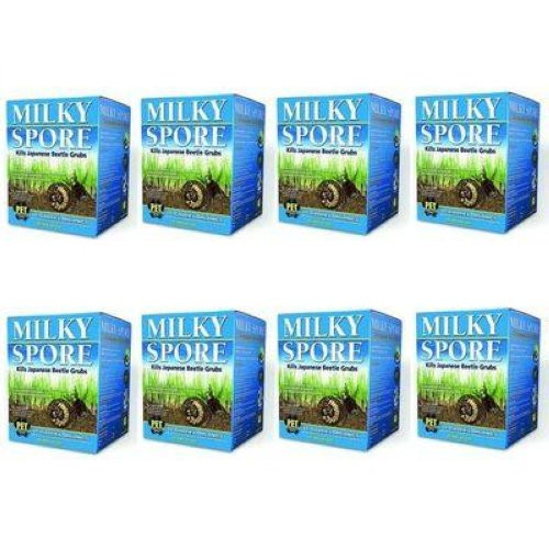 Milky Spore Powder 8 X 40oz. Organic Grub & Japanese Beetle Control Treats 80,000 Sq. Ft. 80040-6