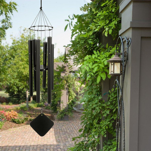 """The Soprano wind chime is our smallest chime, its sound is delicate yet brilliant. Claude Debussy, inspired by Balinese music at the 1896 Paris Exposition, began composing with this atonal Whole Tone scale, used for example in his piece """"La Mer"""". Later, television's original Star Trek used it in the """"beaming up"""" sequences. TV and film scores frequently feature it for underwater scenes, dream and """"flashback"""" sequences. This chime is perfect for apartment dwellers or small patios. Soprano chimes measure 30 inch tall from the top of knot to the base of the windcatcher.     These enchanting wind chimes blend old world craftsmanship with the latest in technology - harmonizing art and science to uplift the spirit and delight the senses. Music of the Spheres® Windchimes with its matte black, powder coated aluminum-alloy tubing will never rust and will always look elegant. These wind chimes make great gifts and are an artistic addition to any garden. They are modern, functional, and simplistic in design. Group several wind chime sizes and tunings together to create your own symphony.     Whole Tone Soprano Chime:      Overall Length: 30""""     Longest tube: 15""""     Tube Diameter (O.D.): 7/8""""     Weight: 2 lbs.     Manufacturer's Warranty: 7 years"""