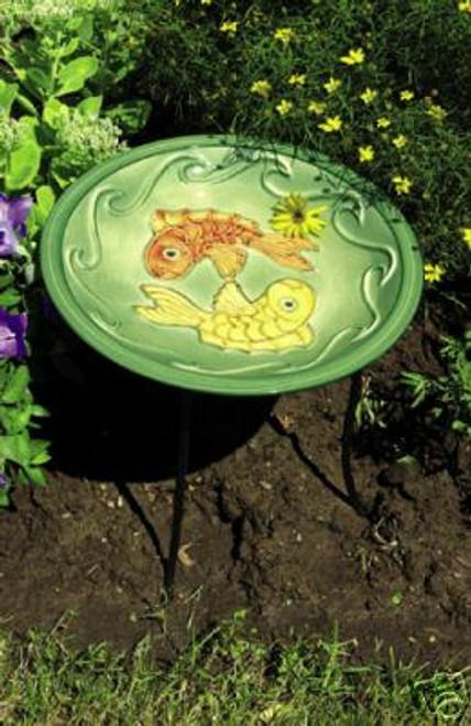 Achla Green Fish Bowl Ceramic Birdbath & Stake, 16 Inch Diameter