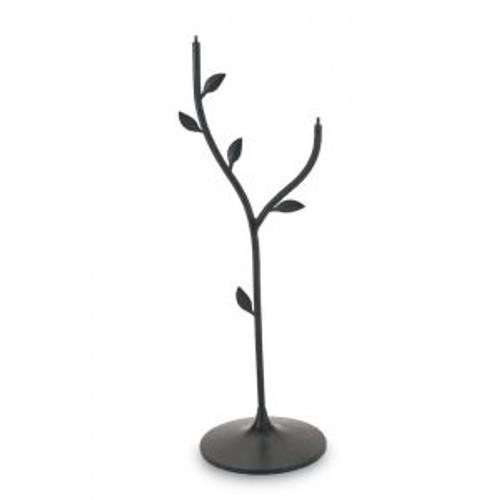 Achla Iron Leaf Birdbath Stand, Black, 37.5 Inches