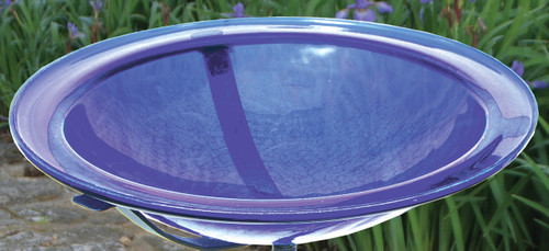 "Achla 12.5"" Crackle Glass Bird Bath Bowl & Cradle Only Blue"