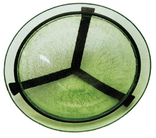"""Achla 12.5"""" Crackle Glass Bird Bath Bowl & Cradle Fern Green"""