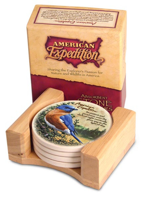 American Expedition Bluebird Stone Coaster Set