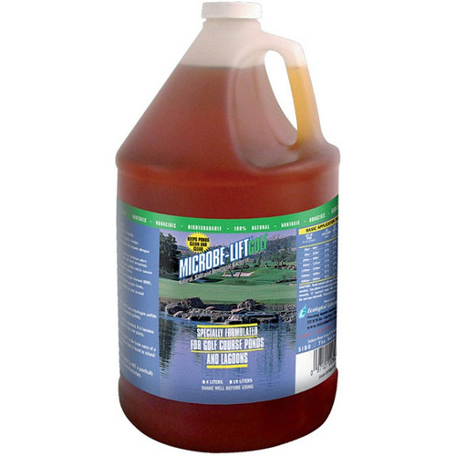 Microbe-Lift Golf - Specially formulated for golf course ponds and lagoons - 1 Gallon Bottle - 10GOLFG  ML/GOLF is 100 % natural, safe and beneficial bacteria. Specially formulated for golf course ponds and lagoons. Nontoxic, nonacidic, biodegradable.    * 100% Natural, Safe and Beneficial Bacteria * 100% Biodegradable * Made in the USA * Safe to use * Easy to use * All natural * Nontoxic * Nonpathogenic