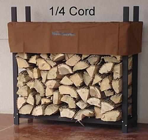 """Woodhaven Firewood Rack & Cover 4'x4'x14"""" Brown"""