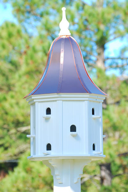 """Fancy Home Products Purple Martin Bird House With Bright Copper Roof 22"""" PMH22-12-12-BC"""