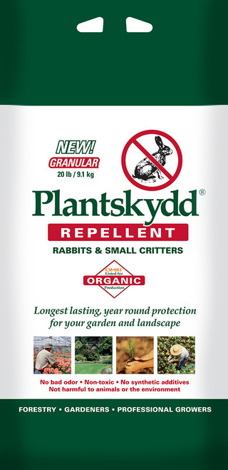 Plantskydd® Deer Repellent Powder Works on deer, elk, moose, rabbits, and possums! Environmentally safe, and so effective!  This all-natural, 100% environmentally safe powder is simply the best I've ever found -- and I've tried them all. Mix it according to package directions, then spray it right onto the plants you want to protect without worrying about burn or other damage. Keep the plants dry for 24 hours (no watering, and if there's an unexpected rainfall, re-apply when the foliage has dried out.) It becomes rainfast after a day, so you DON'T have to rush out after every thunderstorm and reapply! In fact, during the growing season this repellent lasts up to 3 months, and during dormancy it's good for a full 6 months!  The active ingredient in Plantskydd is dried porcine and bovine blood, which repels browsing deer and other animals BEFORE they bite your plants. Environmentally safe, containing no synthetic additives, non-toxic to pets and to the environment, Plantskydd® is a completely safe method of keeping deer away from your garden before they take their first nibble. Apply it when the new spring growth emerges, re-apply as summer approaches and again in midsummer, and nibbling marauders will never set hoof into your garden all season!  And you can garden and entertain outdoors with Plantskydd® -- there is no unpleasant odor. When you first apply the spray to your plants, some leaves may darken, but this will vanish within about 3 days, and there is no other effect. Oh, and keep the family dog indoors for the first 24 hours after you spray -- he will LOVE Plantskydd and will attempt to lick it off all your plants! It won't hurt him, of course, but you don't want him undoing all your good work!  Plantskydd® Animal Repellent is safe for use in protecting fruit, vegetables, and other food crops against browse damage. Once plant bears fruit, do not apply directly onto edible parts of fruit, vegetables, and other food crops. Wash fruits and vegetables before eating. The Organic Material Review Institute (OMRI) has listed Plantskydd® soluble powder as suitable for use in the production of organic foods.  You will love spraying just once every few months instead of after every rainfall -- this makes Plantskydd® far more economical than most animal repellents. The real advantage, though, is simple. Plantskydd WORKS. One-pound box of powdered concentrate makes 4 quarts. Protects over 400 plants/seedlings 1-foot high.