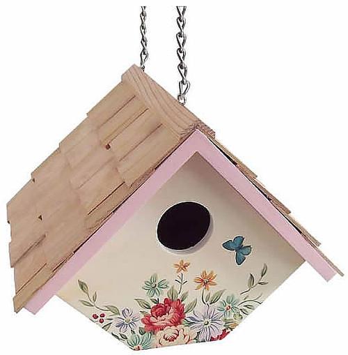 Home Bazaar Printed Wren Pastel Bouquet Hanging Bird House