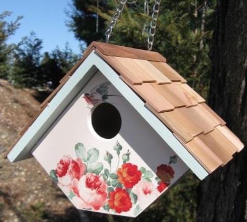 Home Bazaar Printed Wren Peony Hanging Bird House